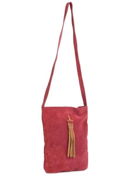Nice Things Suede Tote Bag - Red/Tan