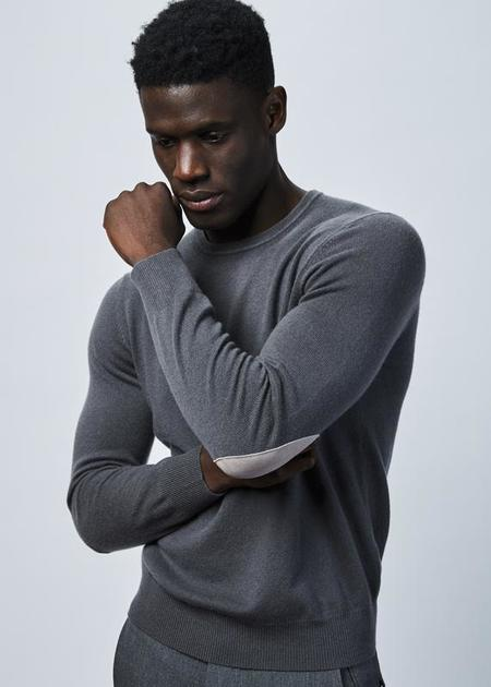 Allude Elbow Patch Cashmere Sweater - Gray