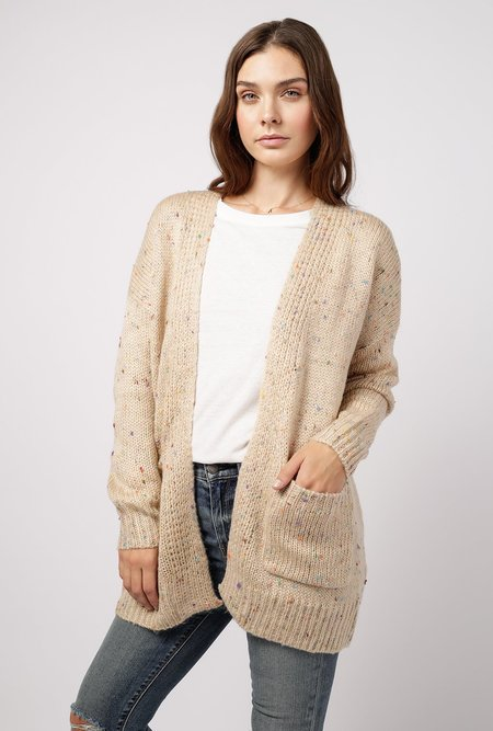 Azalea Multi Speckled Cardigan with Pockets - Taupe