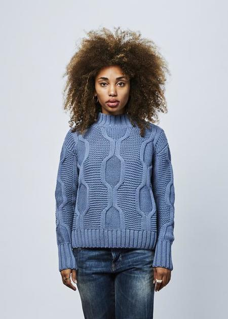 Odeeh Modernist Cable Knit Sweater - Light Blue