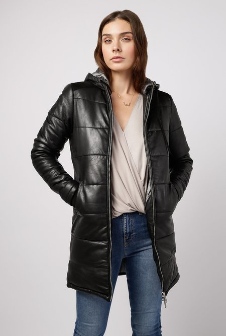 Doma Leather Puffer Hooded Straight Long Coat - Black