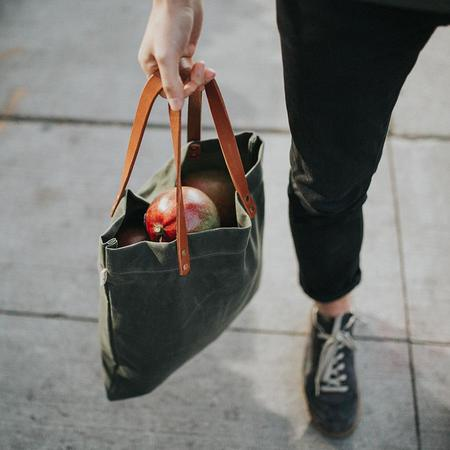 Apogee Waxed Shopper Tote Bag - Olive Green