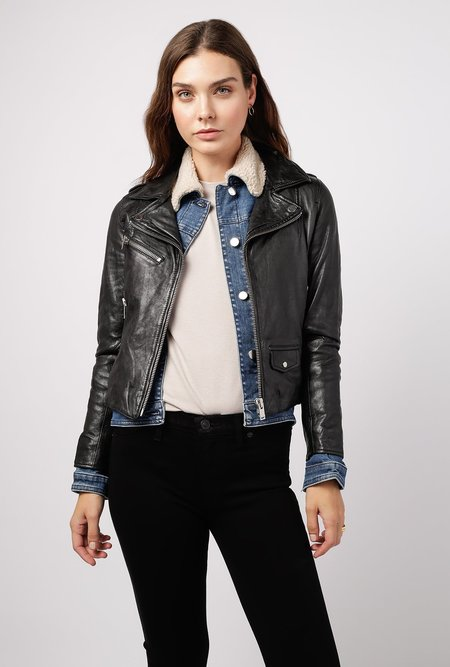 Doma Leather Straight Detachable Hooded Jacket - Black