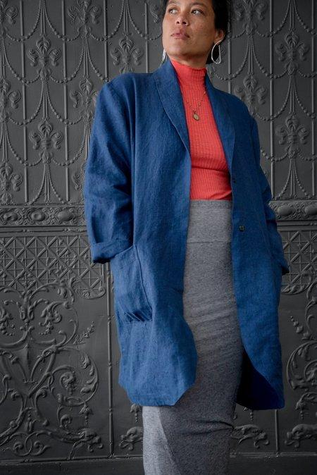 Pamela Mayer Shawl Collar Coat - Indigo
