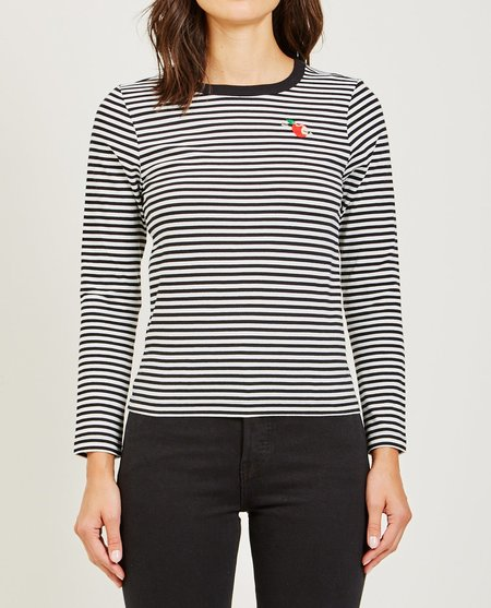 Maison Labiche ARROW APPLE LONG SLEEVE TEE - BLACK/WHITE STRIPES