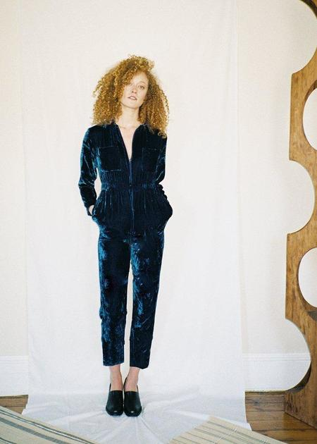 Colorant Silk Velvet Jumpsuit - Indigo