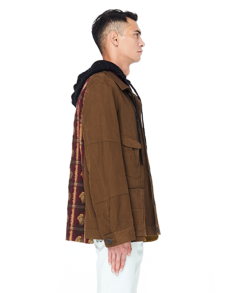 Ziggy Chen Back Printed Cotton Jacket - Khaki