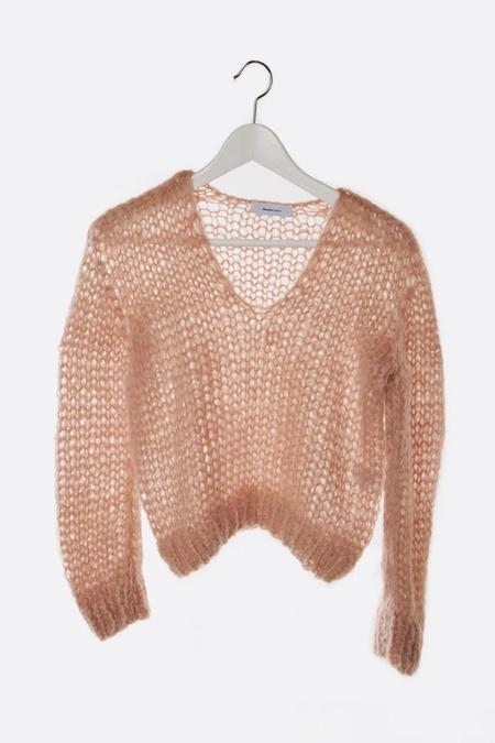 Maiami Mohair V Neck Sweater - Antique Pink