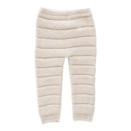 KIDS Oeuf NY Baby Pants With Knitted Stripes - White