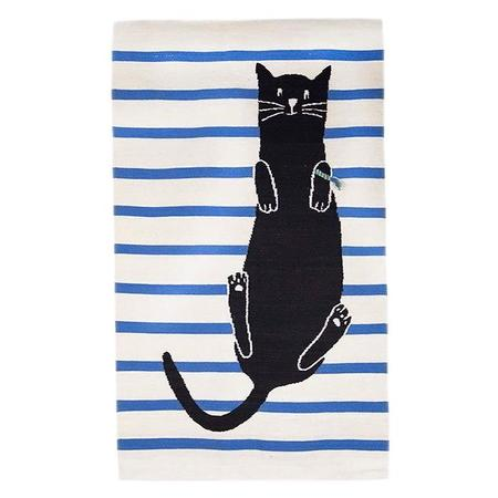 KIDS Oeuf NY 4' x 6' Rug Cat - White With Blue Stripes