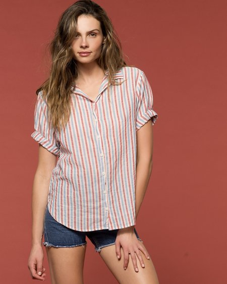 27 Miles Gilasstripe Button Up - Red/Blue
