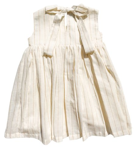 Kids Cabbages and Kings Keyhole Dress - Gold Stripe