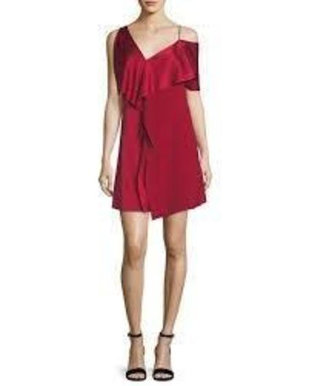 DVF Asymmetric Sleeve Ruffle Dress - Rust
