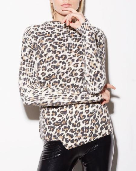 Generation Love  Asymmetric Sweater - Sage Leopard