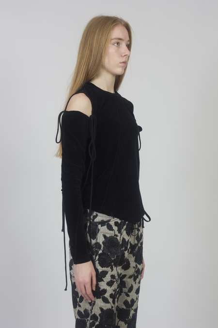 Song for the Mute Velvet Jersey Twisted Tee with Detached Sleeves