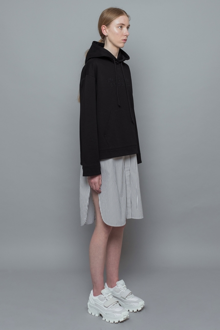 Juun. J Layered Hooded Sweatshirt and Striped Shirt Dress - Black