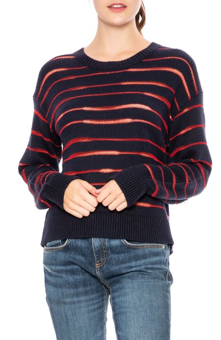Rag & Bone Penn Crew Sweater - Navy/Red