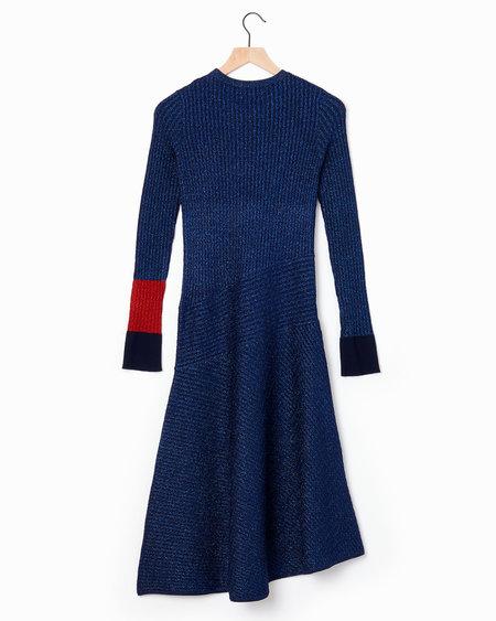 Cedric Charlier Metallic Dress - Blue/Red
