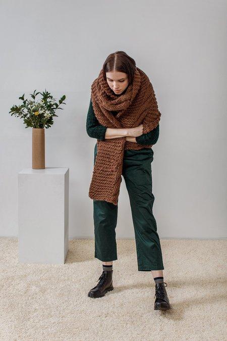 Rujuta Sheth Hand Knitted Chunky Twist Scarf - Sand