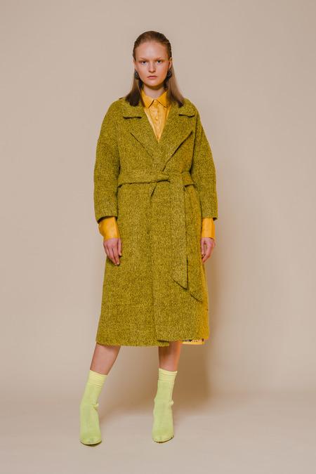 OPUSION Belted Yak wool Coat -Yellow