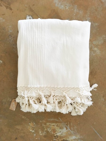 Found cotton tassel throw blanket/bed cover - Cream