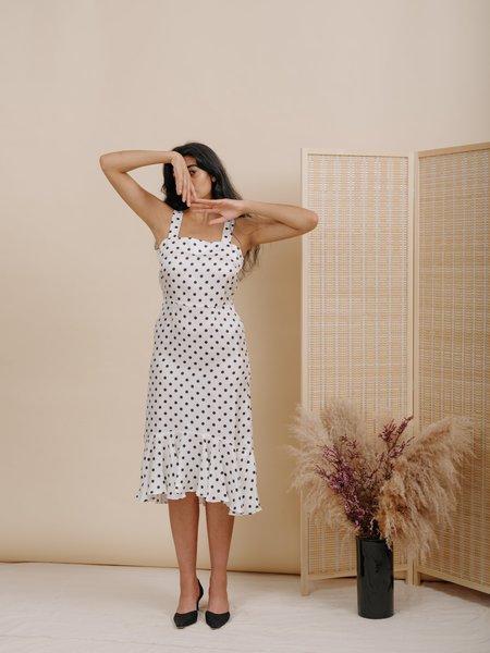 Wolcott : Takemoto Flo Dress - White Polka Dot Silk