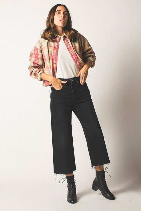 Preservation Vintage Cropped Button-down - Pink Plaid