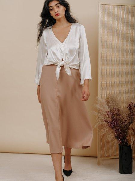 Wolcott : Takemoto Shadow Skirt - Dune Wool Twill