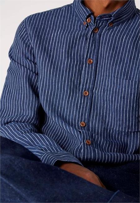 Kings Of Indigo Enda Shirt - White Stripes/Indigo