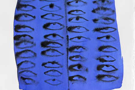Emma Kohlmann Untitled Eyes Painting - Blue