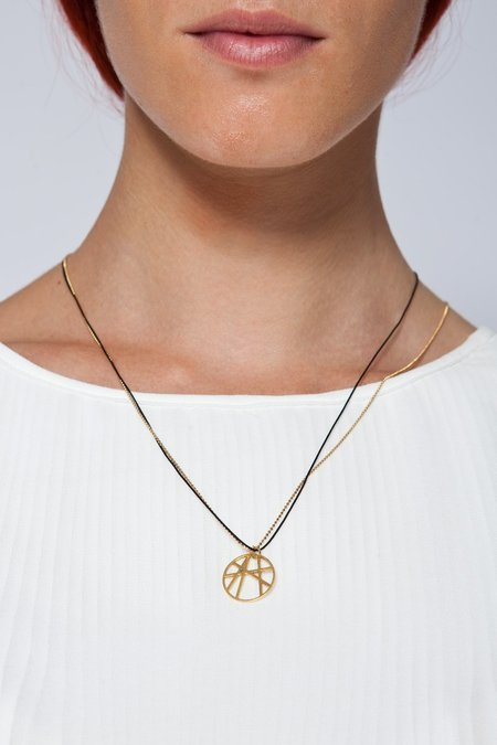 MOUTSATSOS GOLD SOLEIL NECKLACE WITH SILK CORD