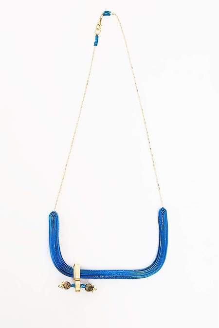 VASILIS MORALIS HANDLE NECKLACE - blue