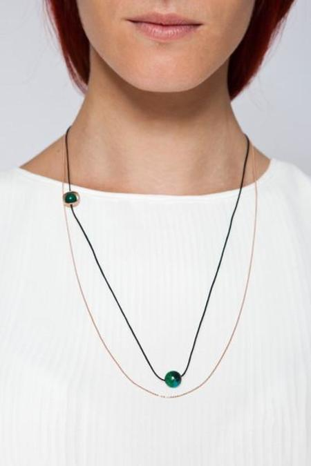MOUTSATSOS LONG GOLD CYCLE DU SOLEIL NECKLACE WITH GREEN EARTH