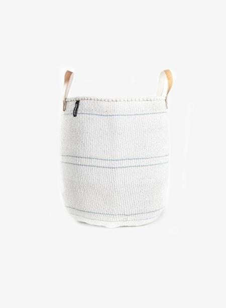 Mifuko Kiondo Medium Basket - White/Stripe Blue