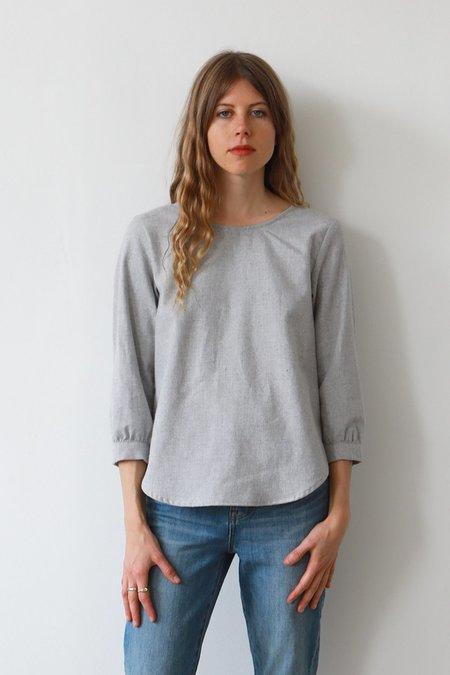 Me & Arrow Flannel Long Blouse - Grey