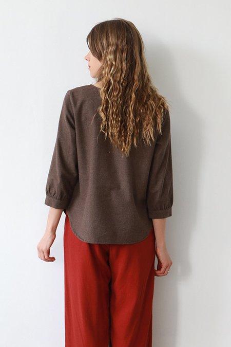 Me & Arrow Flannel Long Blouse - Brown