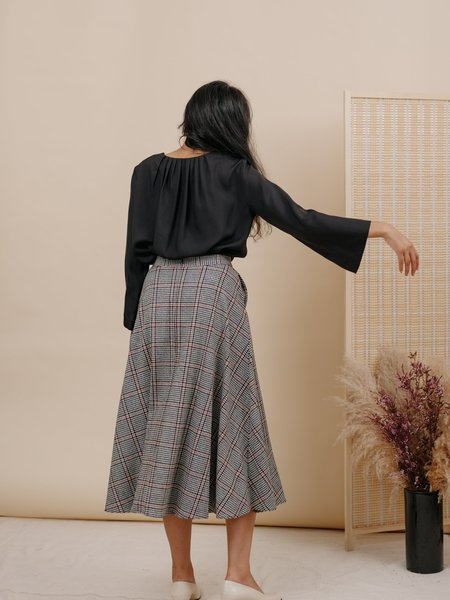 Wolcott : Takemoto Shadow Skirt - Houndstooth Wool