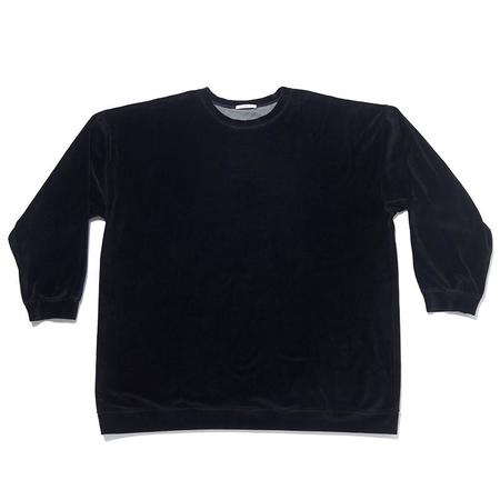 S.K. Manor Hill Oversized Velour Crewneck Sweatshirt - Black