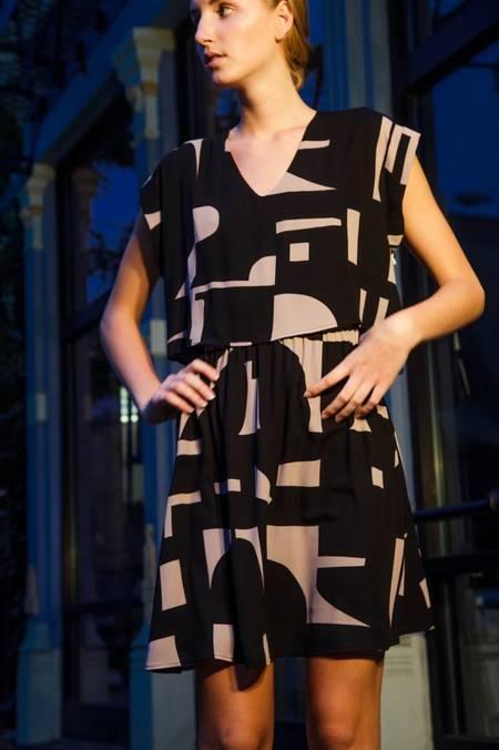Eve Gravel After Midnight Dress - Shatter Print