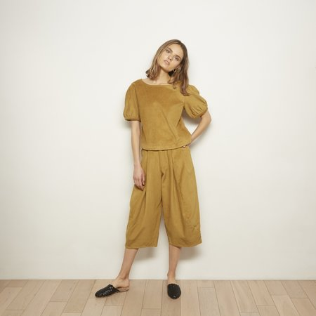 The Odells Puff Sleeve Top - Gold