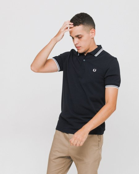 Fred Perry Short Sleeved Polo Shirt - Navy/White
