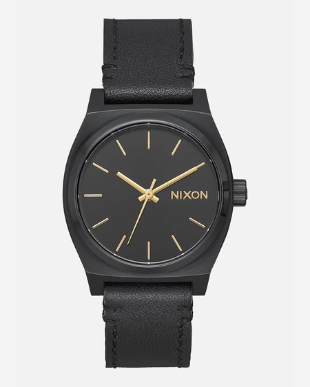 Nixon Medium Time Teller Leather Watch - All Black