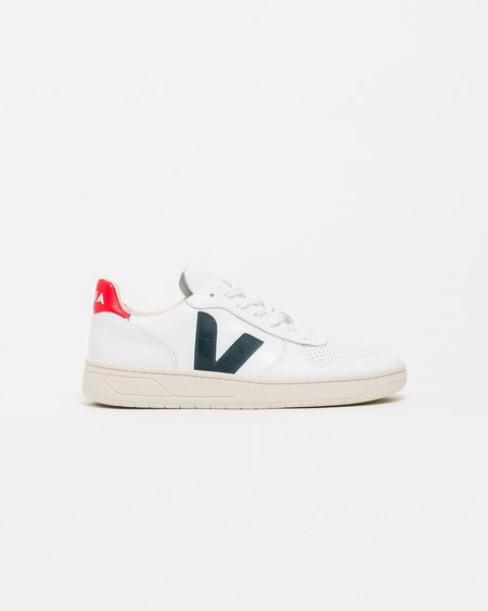 UNISEX Veja V10 Shoes - Extra White/Red/Navy Blue