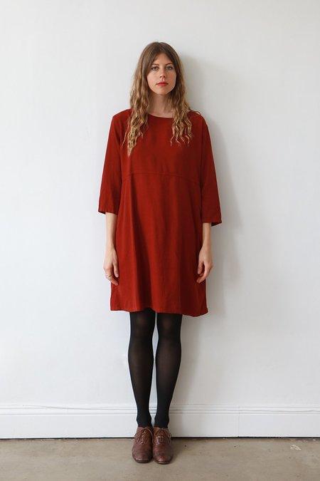 Me & Arrow 3/4 Sleeve Basic Dress - Garnet