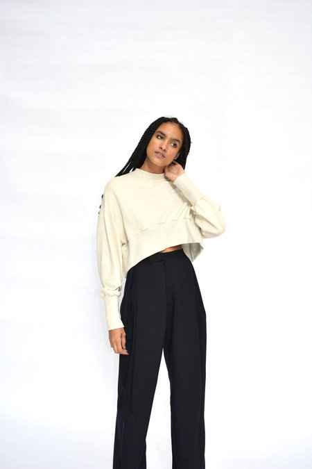 House of 950 Cropped House Party Sweatshirt - Cream
