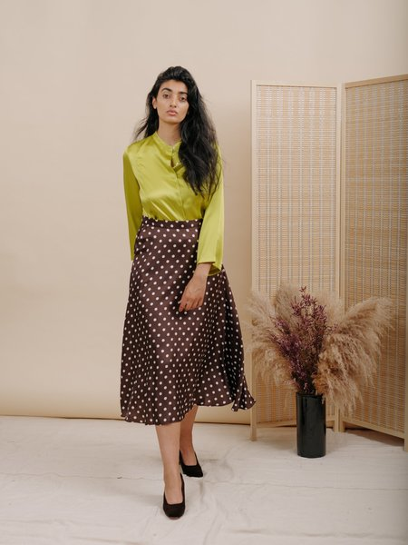 Wolcott : Takemoto Jim Blouse in Lime Silk Charmeuse