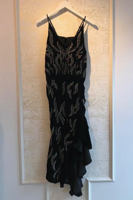 Dodo Bar Or Agnes Embroidered Velvet Dress - Black