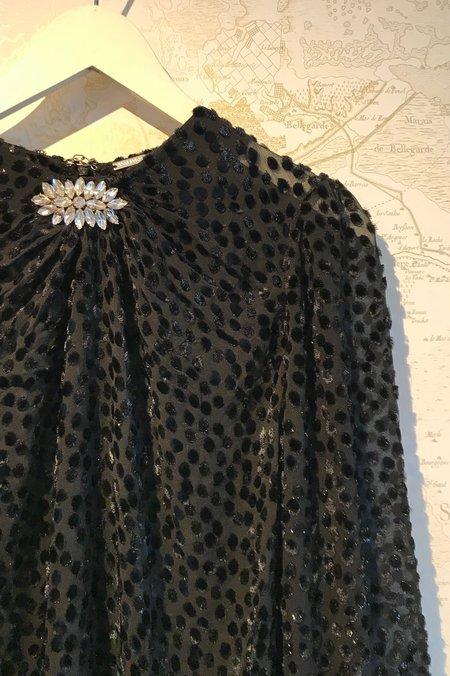 Dodo Bar Or Veronica Devor Shirt With Velvet Leopard And Brooch - Black