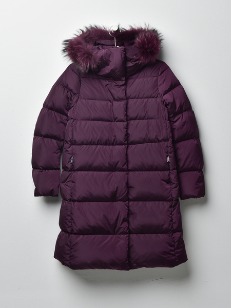 ADD DOWN HOODED DOWN COAT WITH FUR - BLACKBERRY