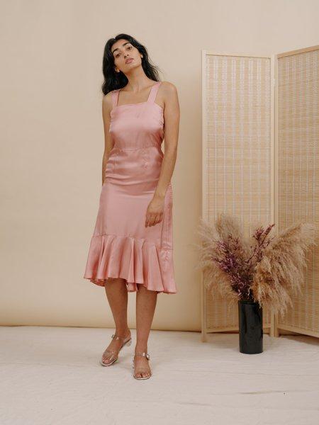 Wolcott : Takemoto Flo Dress - Pink Silk